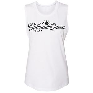 Chicana Queen Women's Sleeveless Muscle Tank White