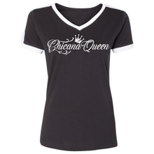 Load image into Gallery viewer, Chicana Queen Ringer Jersey Black