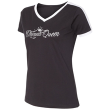 Load image into Gallery viewer, Chicana Queen V-Neck Ringer Tee