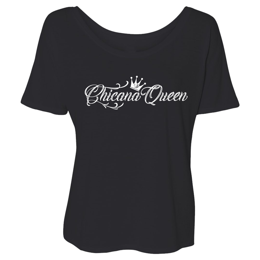 Chicana Queen Short Sleeve Slouchy Tee Black