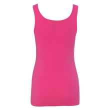 Load image into Gallery viewer, Chicana Queen Spandex Jersey Tank Pink Back