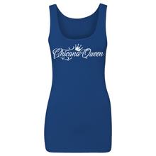 Load image into Gallery viewer, Chicana Queen Spandex Jersey Tank Blue