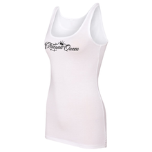 Load image into Gallery viewer, Chicana Queen Spandex Jersey Tank White Side