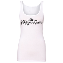 Load image into Gallery viewer, Chicana Queen Spandex Jersey Tank White