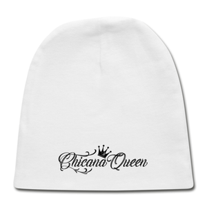 Chicana Queen Cotton Baby Cap - White