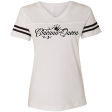Load image into Gallery viewer, Chicana Queen Women's Football T-Shirt White Front