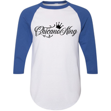 Load image into Gallery viewer, Chicano King 3/4 Sleeve Baseball Tee Blue