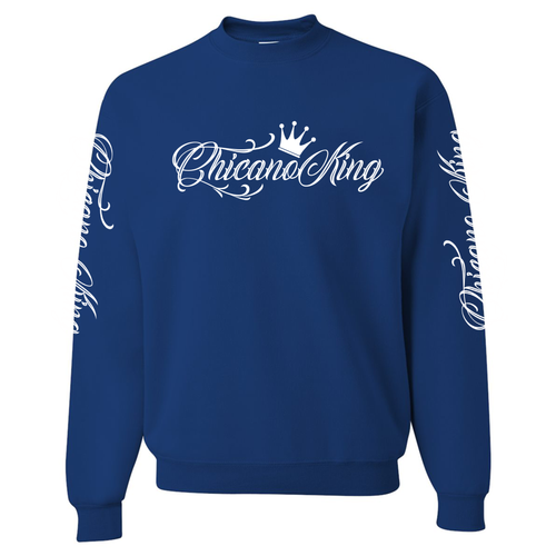 Chicano King Classic Crew Neck Sweatshirt Blue Front