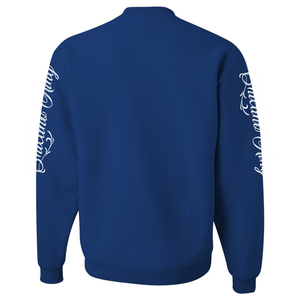 Chicano King Classic Crew Neck Sweatshirt Blue Back