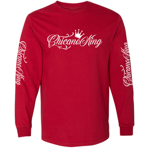 Chicano King Classic Long Sleeve T-Shirt Red Front