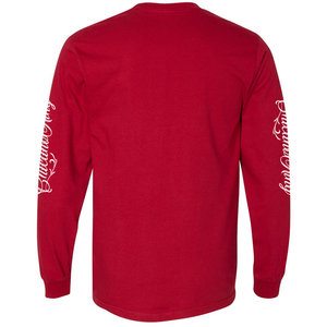 Chicano King Classic Long Sleeve T-Shirt Red Back