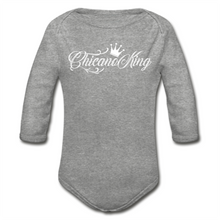 Load image into Gallery viewer, Baby Chicano King Organic Long Sleeve Onesie - Heather Gray