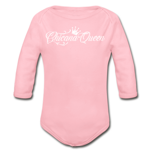 Baby Chicana Queen Organic Long Sleeve Onesie - Pink