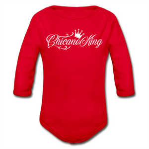 Baby Chicano King Organic Long Sleeve Onesie - Red