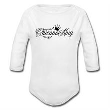 Load image into Gallery viewer, Baby Chicano King Organic Long Sleeve Onesie - White