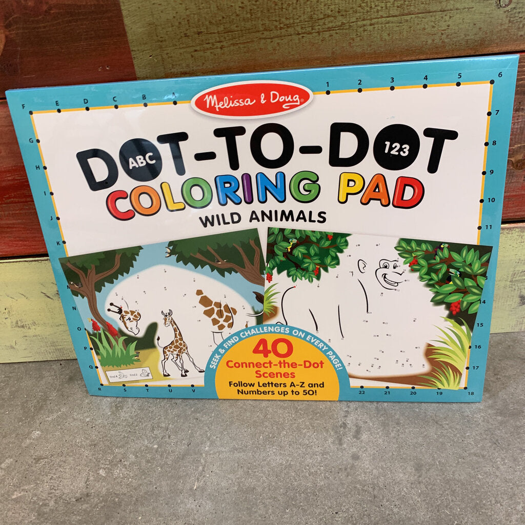 Dot To Dot Coloring Pad Wild Animals