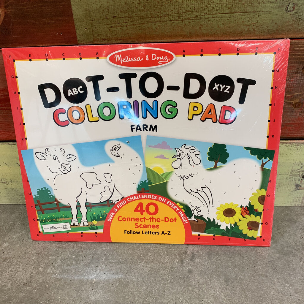ABC Dot to Dot Coloring Pad Farm