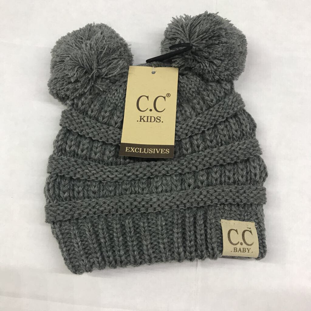 *CC Double Pom Baby Winter Hat Baby Lt Gray