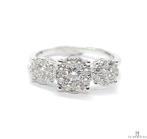 Anello trilogy pavé 0.70 ct diamanti brillanti oro bianco 18kt