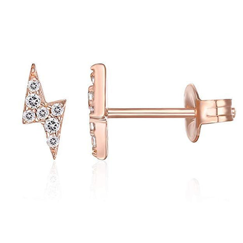 Mini Lighting Bolt Swarovski Elements Studs in 14K Rose Gold