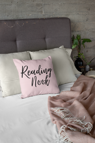 Pink Reading Square Pillow - A Bookish Haven