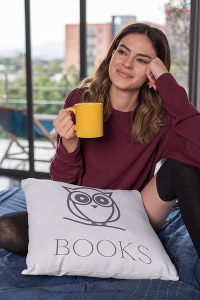 Book Owl Square Pillow - A Bookish Haven