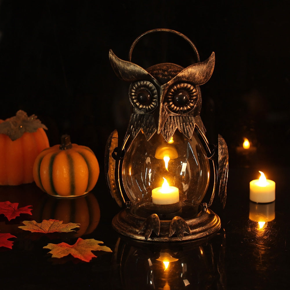 Gold Owl Holder Lantern