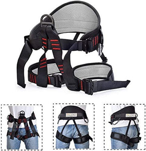 Climbing Harness, Protect Waist Safety Harness, Wider Half Body Harness for Mountaineering Fire Rescuing Rock Climbing Rappelling