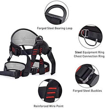 Load image into Gallery viewer, Climbing Harness, Protect Waist Safety Harness, Wider Half Body Harness for Mountaineering Fire Rescuing Rock Climbing Rappelling