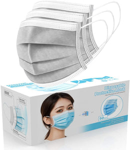[50 Pc/Box] Face Mask Disposable Non Surgical 3-Ply Earloop Mouth Cover Masks- Silver
