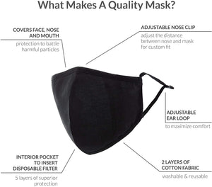 Washable Cloth Face Mask Reusable and Adjustable Protective Fabric Face Cover w/Dust Filter Pocket