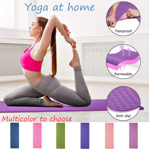 TPE Yoga Double Layer Non-Slip Mat Exercise Pad with Position Line