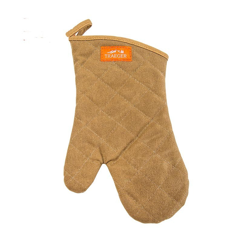 TRAEGER BBQ MITT- BROWN CANVAS AND LEATHER - Creative Outdoor Living
