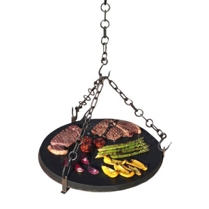 Kadai Stone Griddle Plate with metal ring and stand, 3 chains and hooks - Creative Outdoor Living
