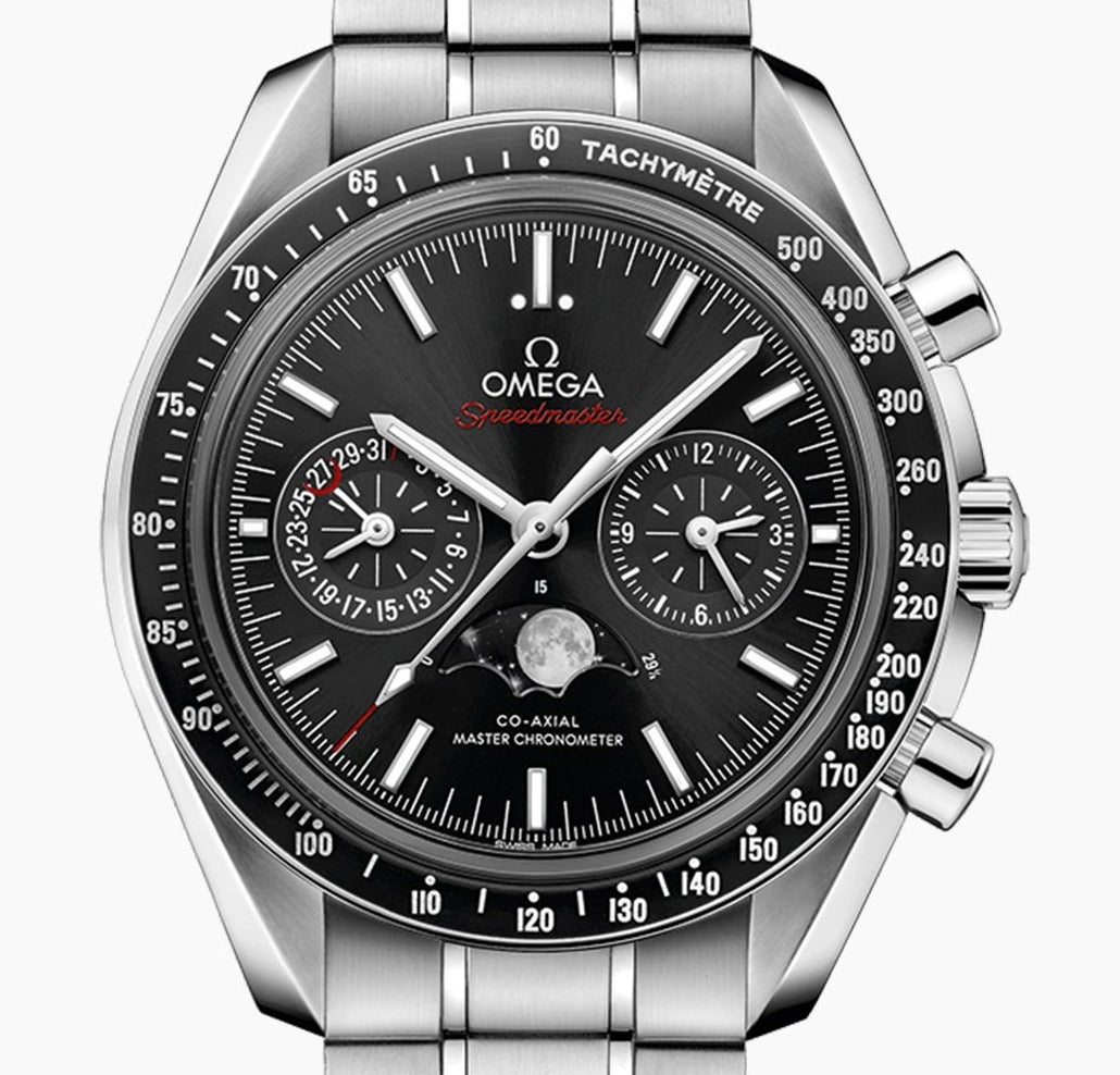 Omega Speedmaster Moonwatch Moonphase with Black dial and Steel Bracelet model 304.30.44.52.01.001