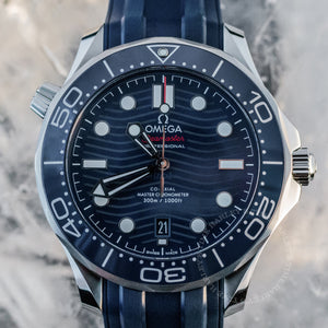 Omega Seamaster Diver 300M Blue Dial 42mm Rubber Band Ref#210.32.42.20.03.001