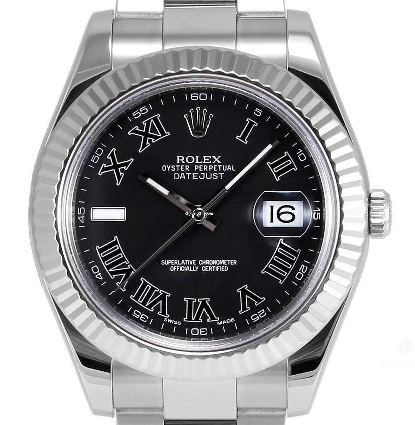 Pre-owned Rolex Datejust II Roman Oyster 41mm Black Dial Ref#116334