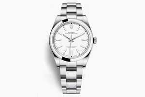 Rolex Oyster Perpetual White Dial 39mm Steel bracelet 114300