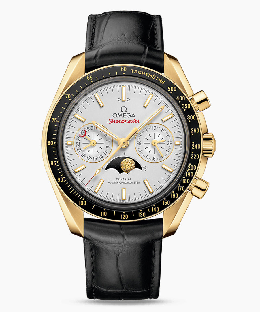 Omega Moonphase Speedmaster 304.63.44.52.02.001 Full Yellow Gold Case 44.25mm Crocodile band