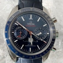 Omega Speedmaster Moonwatch Moonphase Blue Dial 44.25mm Crocodile Band 304.33.44.52.03.001