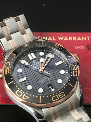 Omega Seamaster Diver 300M Gold Black Wave 42mm Steel Bracelet 210.20.42.20.01.001