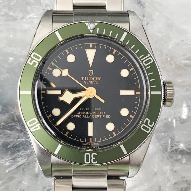 Tudor Black Bay Green Harrods  41mm with Steel Bracelet and Nato Strap  79230G