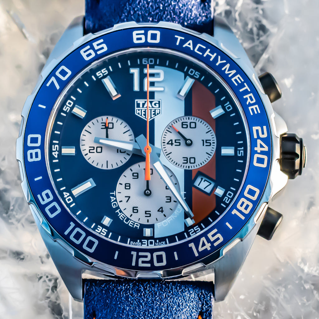 TAG Heuer Gulf Formula 1 Quartz Blue 43mm Leather strap Ref#CAZ101NFC8243