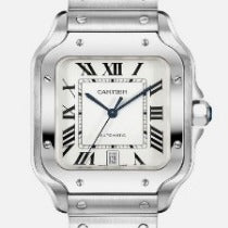 Cartier Santos Large 39.8mm White Dial Steel bracelet & Leather strap WSSA0018