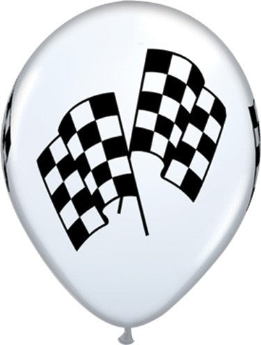 Racing Flag White Latex Balloons
