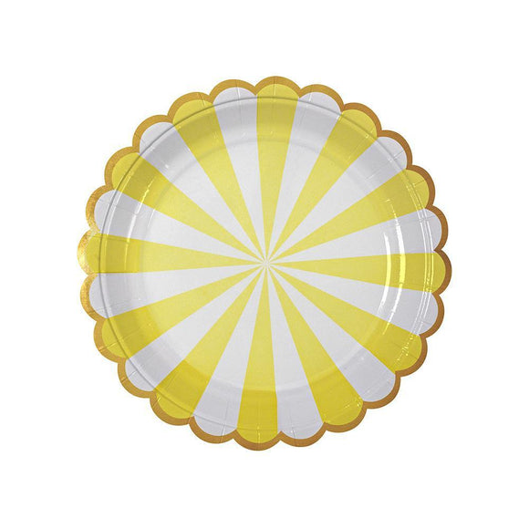 Meri Meri Yellow Fan Stripe Plates (small)