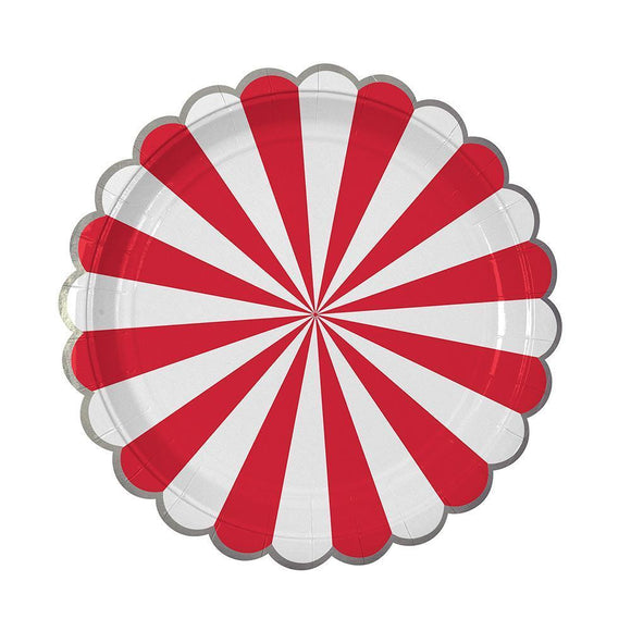 Meri Meri Red Fan Stripe Plates (large)