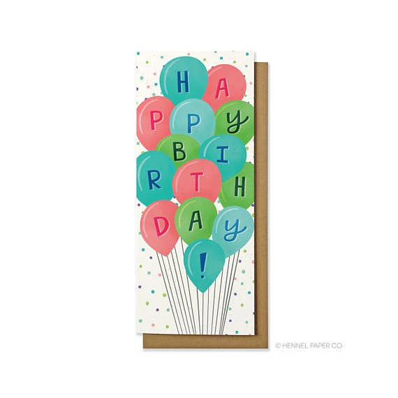 Birthday Balloons Money Card