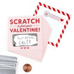 Box of 18 - Scratch-off Valentines Pink