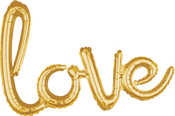 Gold Love Script Balloon